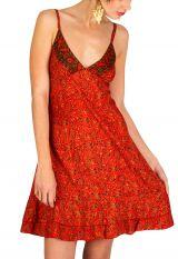 Robe-courte estivale à fines bretelles et col v orange Ramona 293362