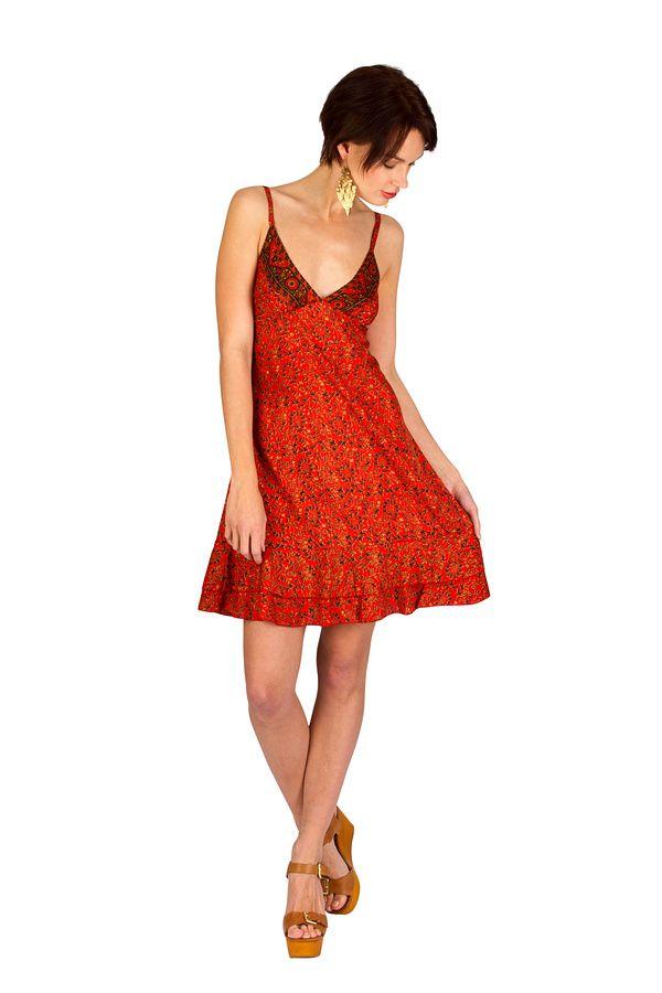 Robe-courte estivale à fines bretelles et col v orange Ramona 293363