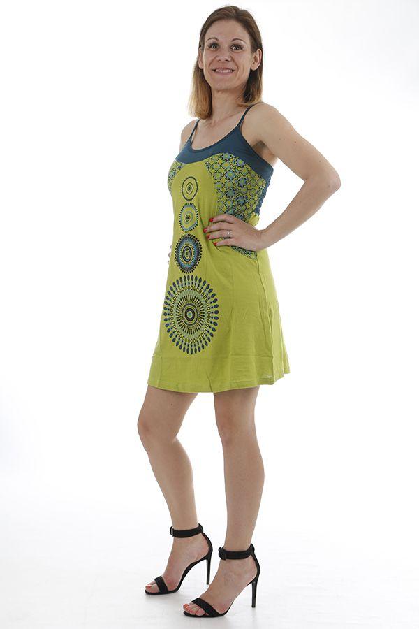 Robe courte estivale aux imprimés ethniques et colorée Caly 311874