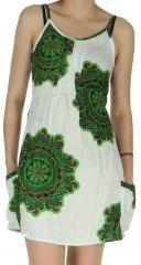 Robe courte Estivale et Pas chère Blanche à fines bretelles Claire 282560