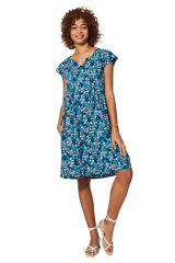 Robe courte et bleue à fleurs pour femme d\'été mode bohème chic Hennie