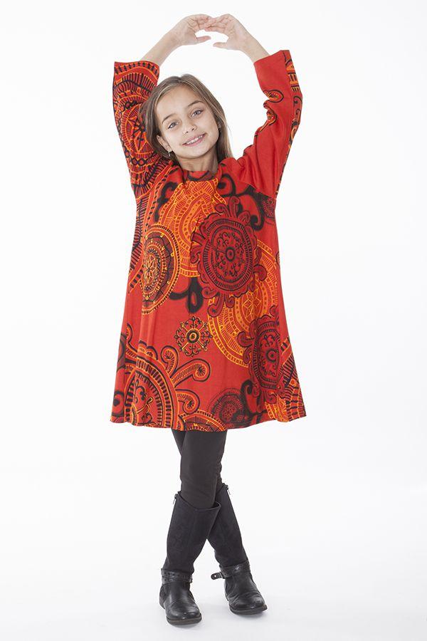 Robe courte et large pour fille de couleur orange 287345