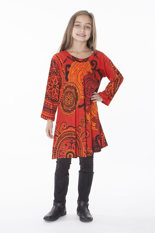 Robe courte et large pour fille de couleur orange 287346