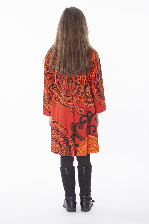 Robe courte et large pour fille de couleur orange 287347