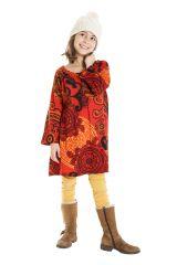 Robe courte et large pour fille de couleur orange 302242