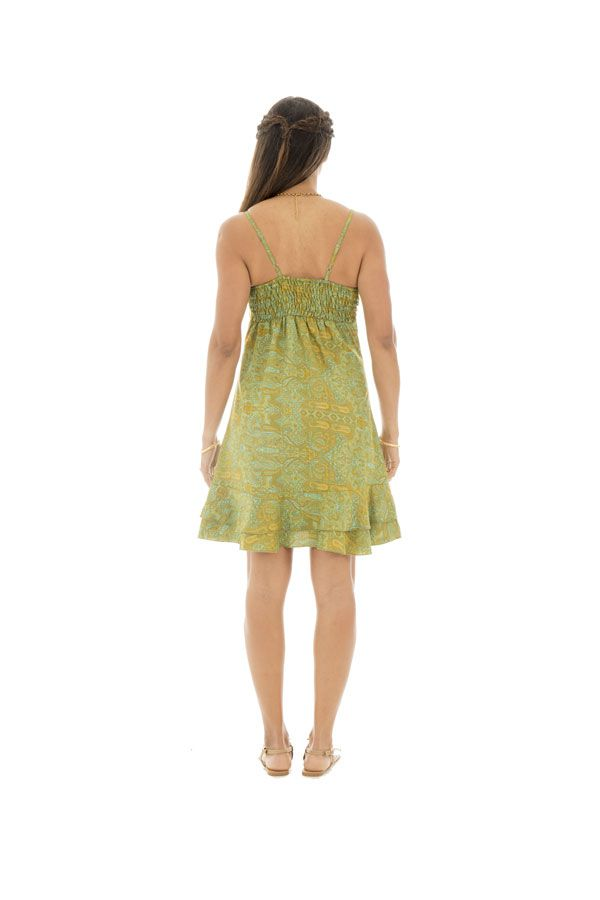 robe courte et légère avec de fines bretelles et motifs ethniques Nena 289895