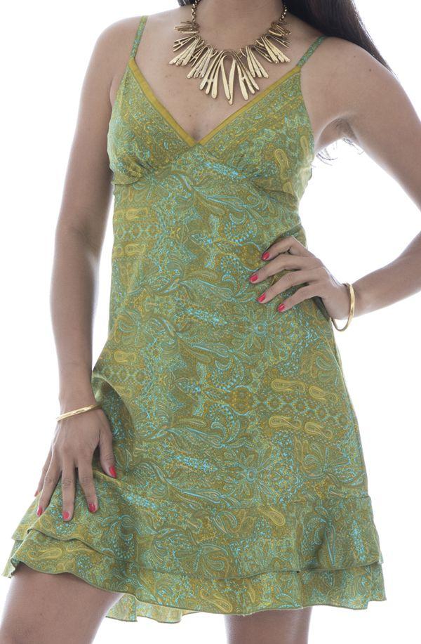 robe courte et légère avec de fines bretelles et motifs ethniques Nena 292145