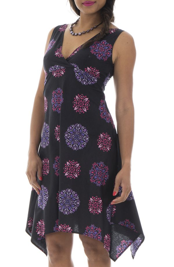 97e49452454 Robe courte et légère avec motifs mandalas noire et violette Taissia  291542. Loading zoom