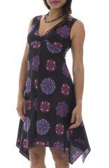 Robe courte et légère avec motifs mandalas noire et violette Taissia 291542