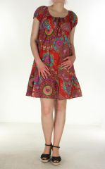 Robe courte et légère d'été Chanya rouge 299633