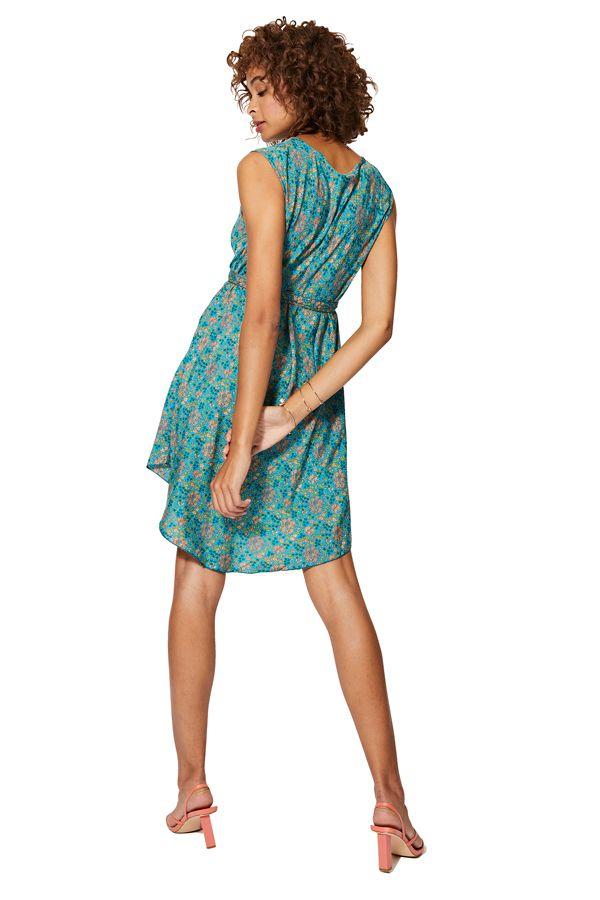 Robe courte et originale femme imprimé bohème bleue Yurina