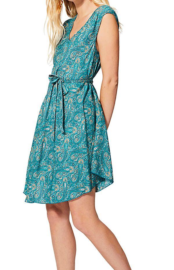 Robe courte et originale femme imprimé ethnique bleue Yurino