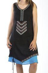 Robe courte été brodée à nœud coulissant Ethnique Noire Keshava 291239