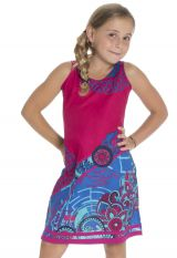 Robe courte été enfant à col rond imprimée et originale Rose Lula 294013