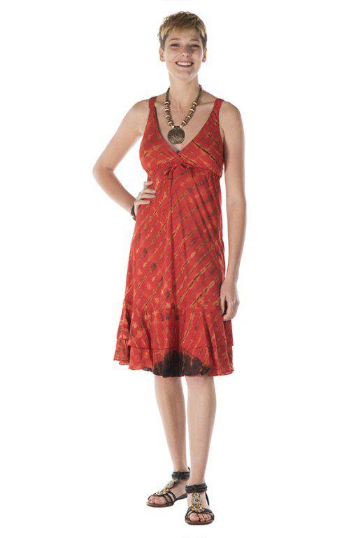 Robe courte été femme orangée col V Miriame 288161