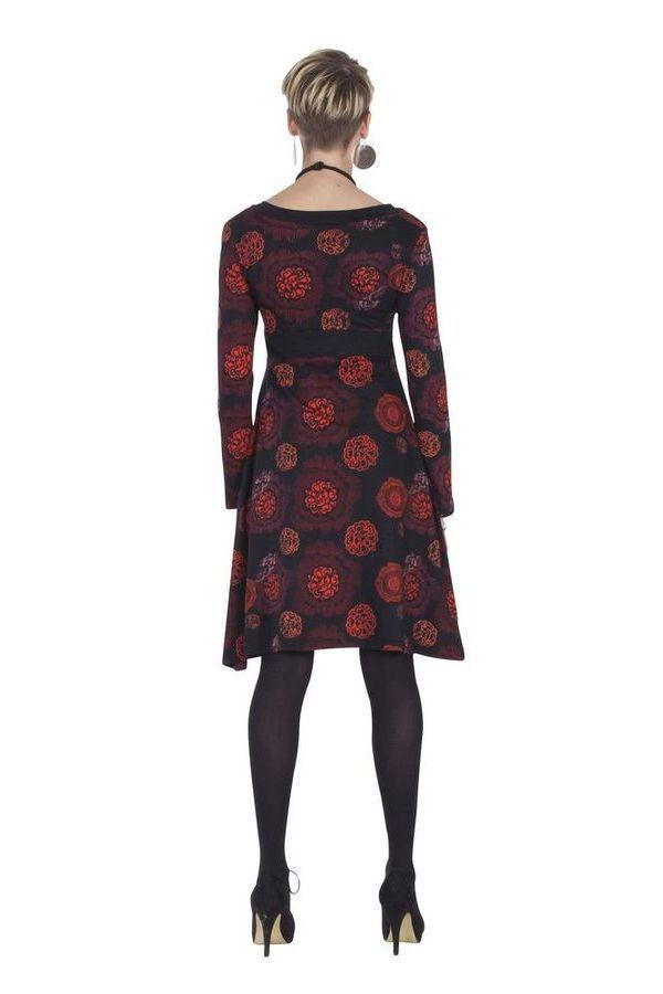 Robe courte Ethnique à col en V Justine Noire et Rouge 285430