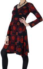 Robe courte Ethnique à col en V Justine Noire et Rouge 286634