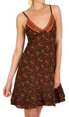 Robe-courte ethnique à fines bretelles et imprimés brun Ramona 293511