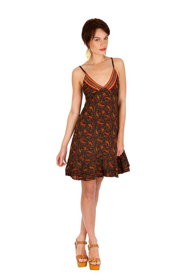 Robe-courte ethnique à fines bretelles et imprimés brun Ramona 293512