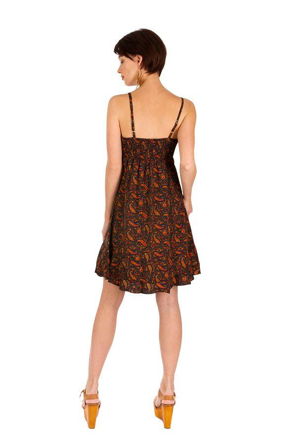 Robe-courte ethnique à fines bretelles et imprimés brun Ramona 293513