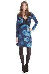 Robe courte Ethnique à manches longues Bellagia Bleue 285408