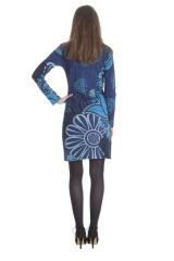 Robe courte Ethnique à manches longues Bellagia Bleue 285409