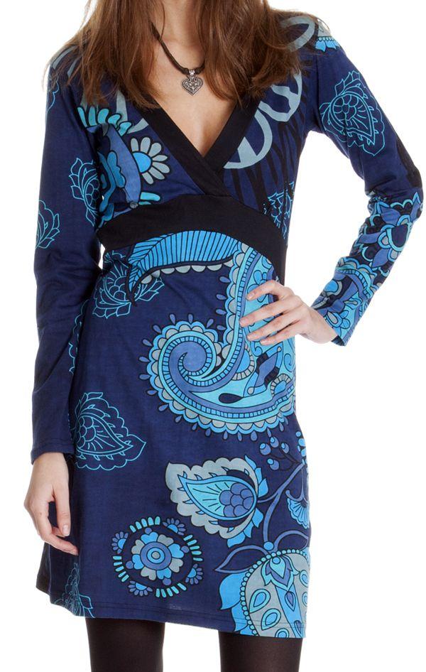 Robe courte Ethnique à manches longues Bellagia Bleue 286626