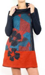 Robe courte ethnique à manches longues Daniela 302663
