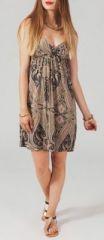 Robe courte ethnique col V à fines bretelles Munyma 271781