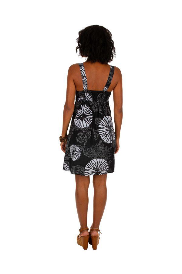 Robe courte ethnique en coton idéale pour la plage Tricya 307070