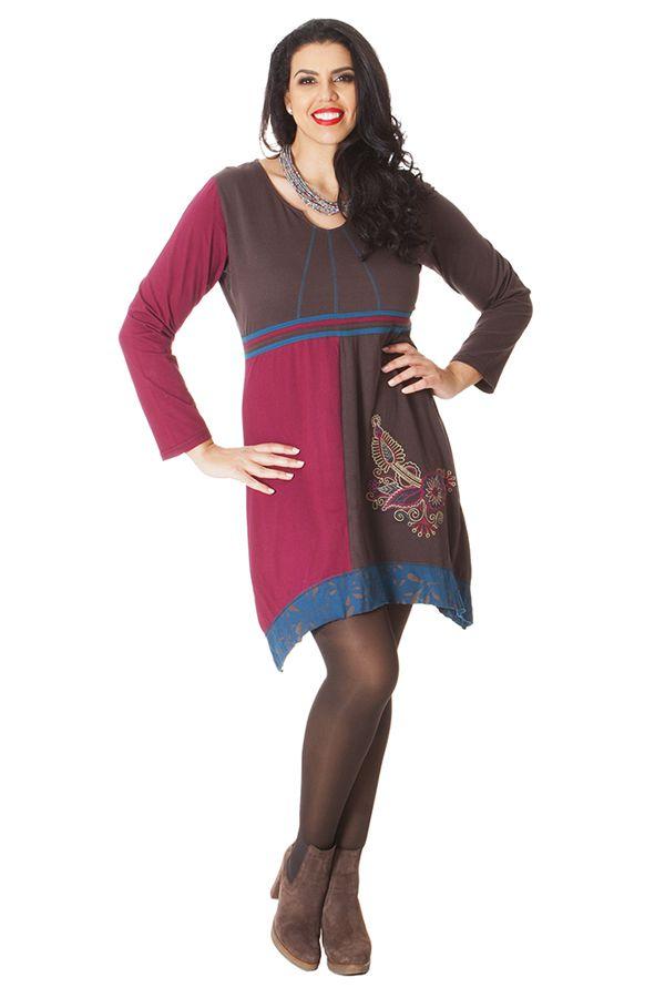 Robe courte Ethnique et Asymétrique en Grande taille Saige Choco 286092