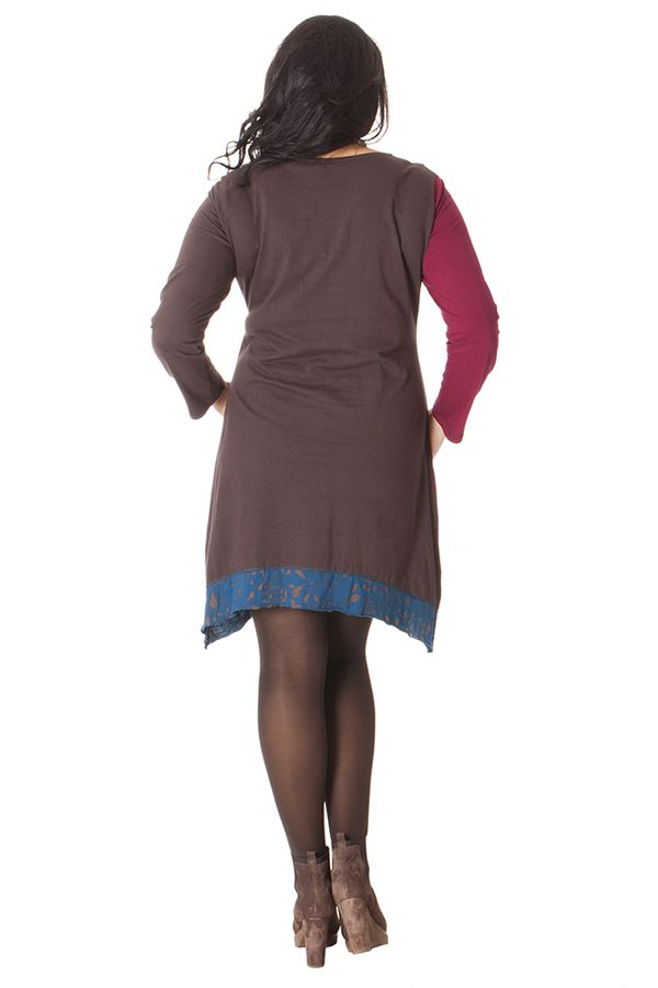 Robe courte Ethnique et Asymétrique en Grande taille Saige Choco 286093