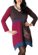 Robe courte Ethnique et Asymétrique en Grande taille Saige Choco 286969