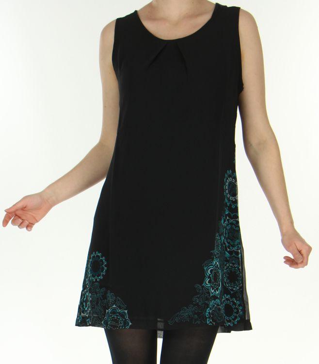 Robe courte Ethnique et Chic sans manches en Voile Mylène Emeraude 278673