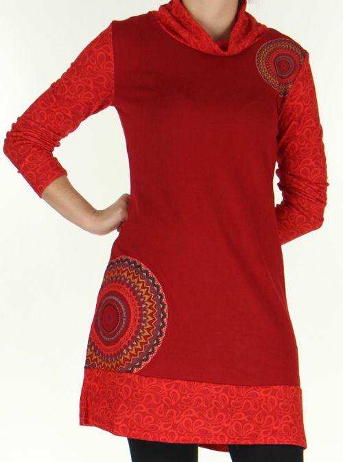 Robe courte Ethnique et Colorée d'hiver Tahina Rouge 276358