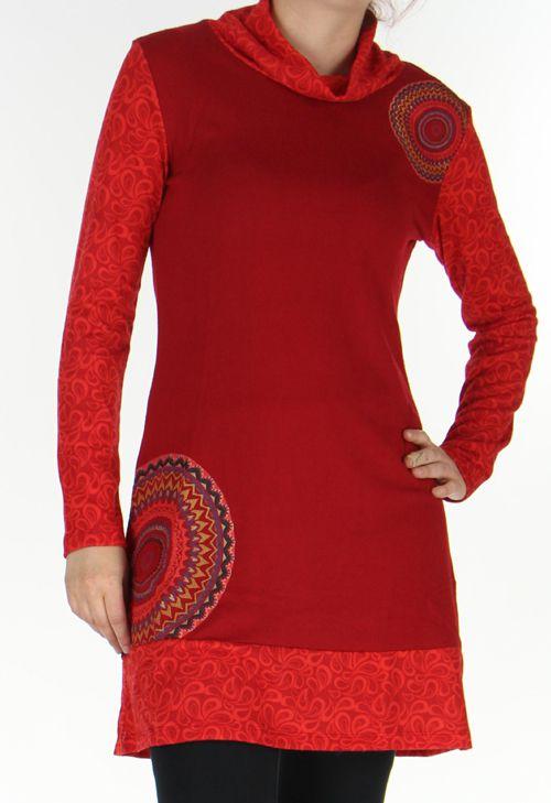 Robe courte Ethnique et Colorée d'hiver Tahina Rouge 276360
