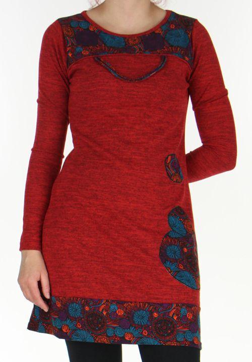 Robe courte Ethnique et Colorée d'hiver Telma Rouge 276371