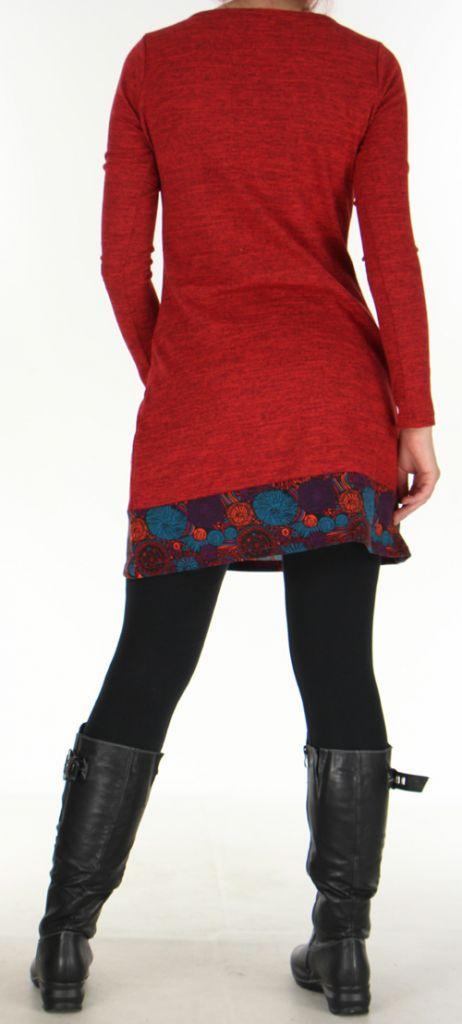 Robe courte Ethnique et Colorée d'hiver Telma Rouge 276373