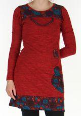 Robe courte Ethnique et Colorée d'hiver Telma Rouge 308841