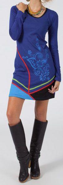 Robe courte Ethnique et Colorée Jadenne motifs Bleus 274836
