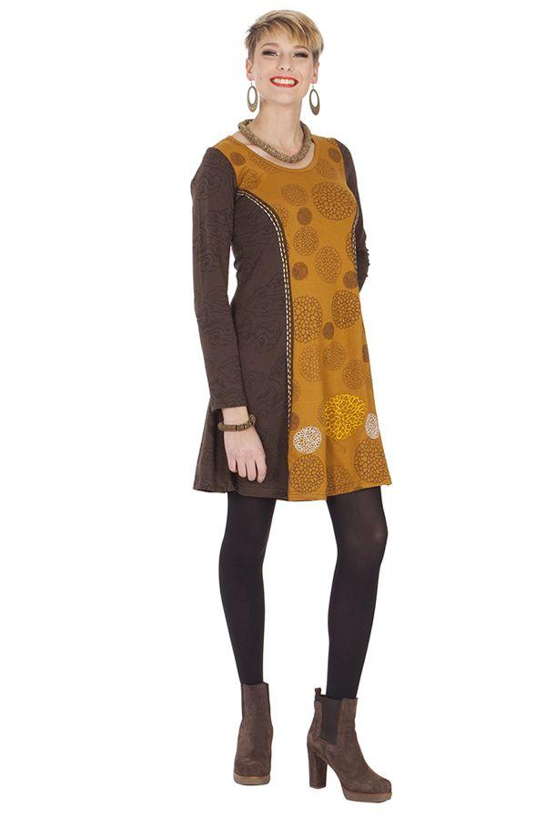 Robe courte Ethnique et Féminine Wendy Choco et Ocre 285333