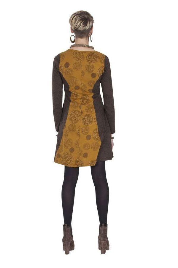 Robe courte Ethnique et Féminine Wendy Choco et Ocre 285334