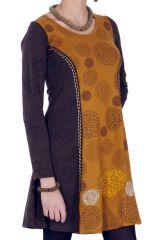 Robe courte Ethnique et Féminine Wendy Choco et Ocre 286826