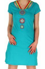 Robe courte Ethnique et Imprimée Mandalas Pétrole Tajina 282816