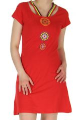 Robe courte Ethnique et Imprimée Mandalas Tajina Rouge 282807