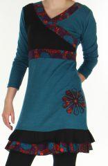 Robe courte Ethnique et Originale  Effet cache-coeur Urielle Pétrole 276434