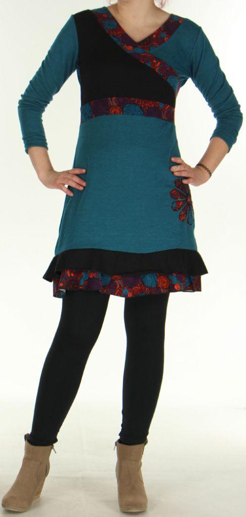 Robe courte Ethnique et Originale  Effet cache-coeur Urielle Pétrole 276435