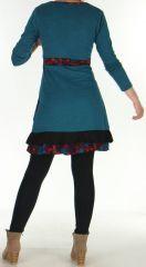 Robe courte Ethnique et Originale  Effet cache-coeur Urielle Pétrole 276436