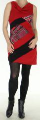 Robe courte Ethnique et Originale à col bénitier Maroussia Rouge 278812