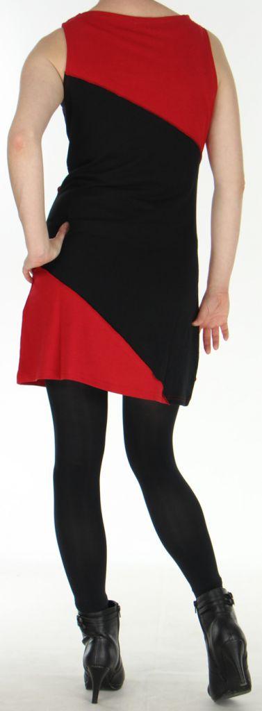 Robe courte Ethnique et Originale à col bénitier Maroussia Rouge 278813